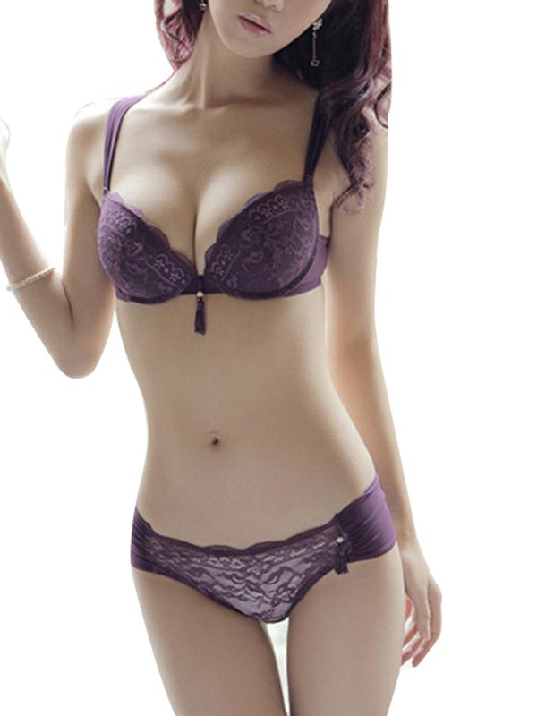 Elegant Women Adjustable Straps Underwear Lace Bra Sets