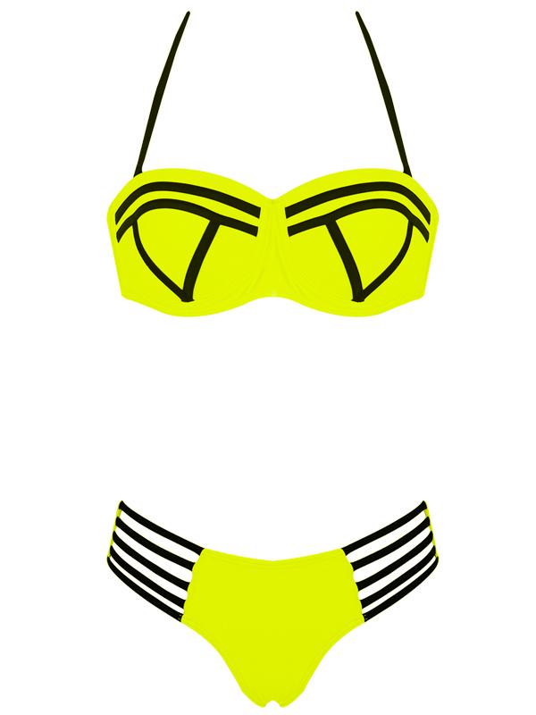 Neoprene Women Swimwear Strapless Underwire Push Up Bikinis