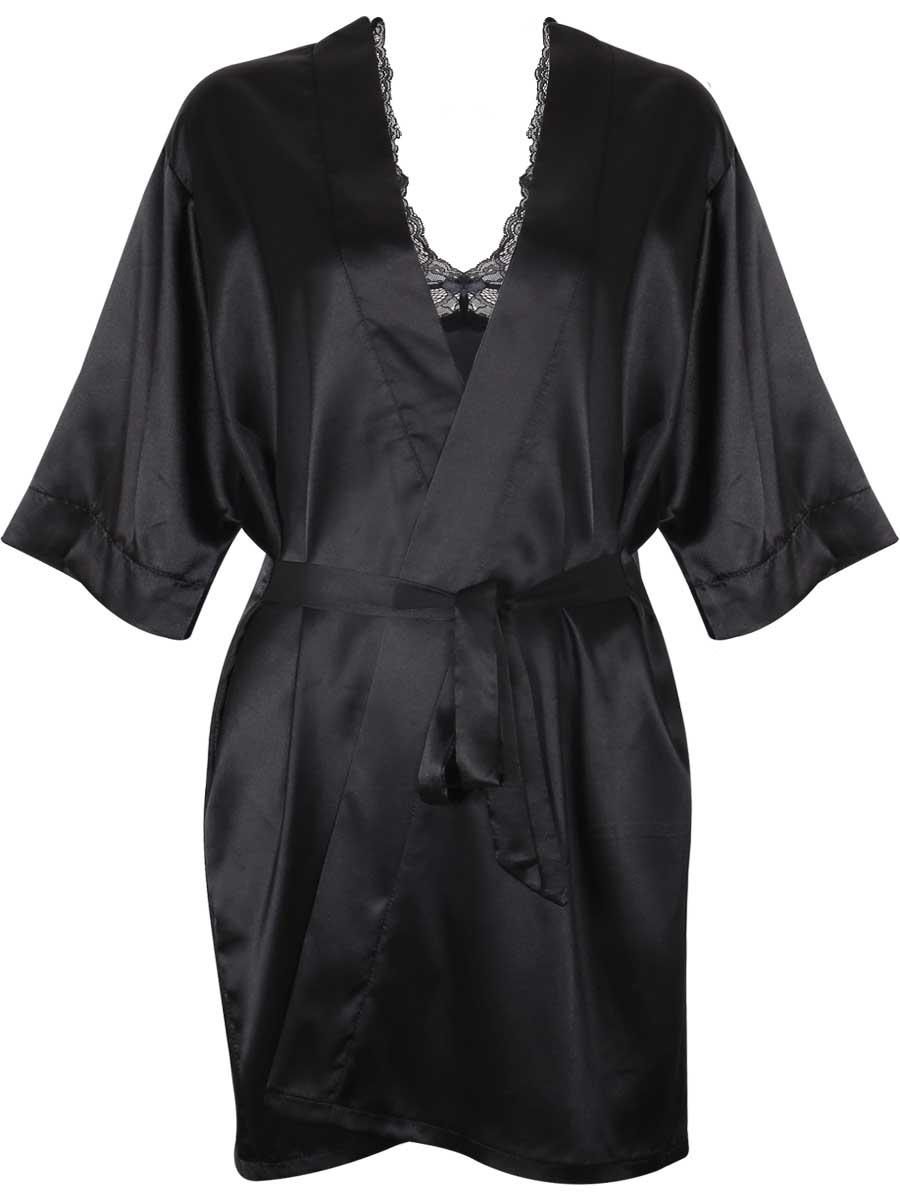 Black Lace BabyDolls Lingerie Hot Women Silk Night Robes