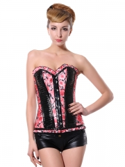 Hot Sale Romantic Pink Rose Steel Boned Corset