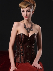 Brown Noble Ring Buckle Steel Boned Corset Wholesale