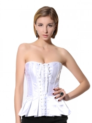 Fashion White Elegant Satin Overbust Ladies Corset