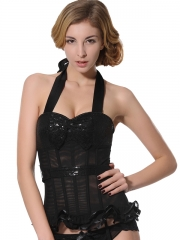 Fashion Shining Big Bow Black Overbust Corset With Garter