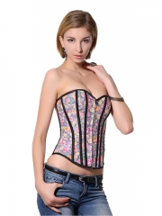 Hot Sale Colorful Flowers Women Denim Zipper Corset