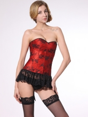 Fashion Black Lace Hem Wholesale Red Women Corset Bustier