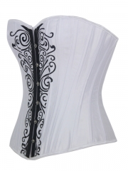 White Satin Push Up Corset Printing Bustier For Women