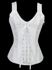 Strong Steel Boned Fashion Outwear White Gater Corset