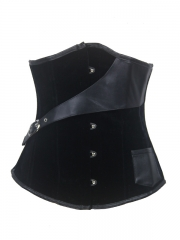 Vogue Underbust Black Velvet Steel Boned Corset With Belts