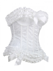 White Bridal Corset Tops Zip Up Women Bustier Corset