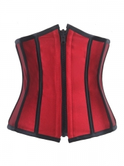 Reversible Wear Red Satin Waist Training Steel Boned Corset