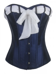 Elegant Bustier Outfits Overbust Blue Corset Tops For Women