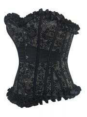 Black Satin Bustier Overbust Waist Training Corset Tops