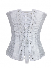 White Embroidered Bridal Corset Women Overbust Corset Tops