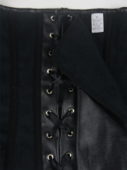 Black Zipper Leather Overbust Corset Bustier Tops For Women