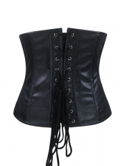 Black Leather Steel Boned Waist Training Underbust Corset