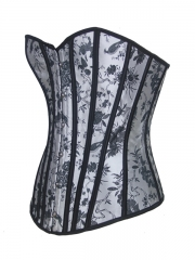 Embroidered Satin Corset Tops OverBust Corset Waist Training