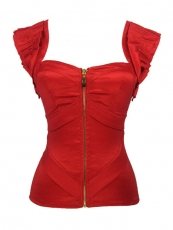 Shoulder Straps Corsets Red Front Zipper Corset Tops
