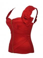 Shoulder Straps Corsets Red Front Zipper Corset Tops