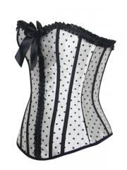 Women Slimming Corset Black Polka Dots White Corset Tops