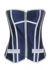 Zipper Waist Corset Overbust Blue Corset Tops Thong