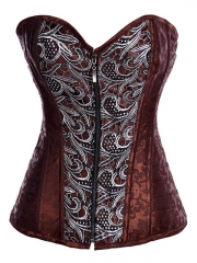 Front Zipper Brown Jacquard Steel Boned Overbust Corselet
