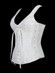 Strong Steel Boned Outwear White Bridal Corset Tops