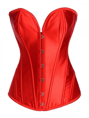 Wholesale Red/White Steel Boned Satin Overbust Corset Tops