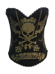 Wholesale Skull Pattern Overbust Corset Tops With Chain