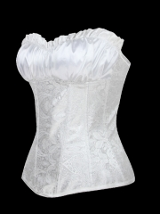White Noble Bridal Corselet Queen Women Overbust Corset