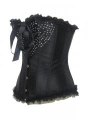 Shiny Sweet Heart Rhinestone Black Overbust Corset