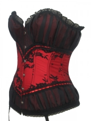 Mesh Decorated Renaissance Women Overbust Corset Tops