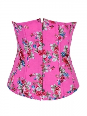 Vogue Vintage Denim Pink Flowers Women Underbust Corset