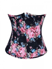 Vogue Vintage Denim Black Flowers Underbust Corset Bustier