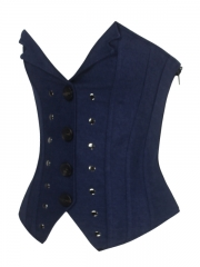 Button Decoration Women Zipper Overbust Corset