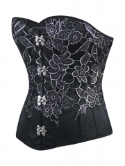 Whoelsale Black Satin Flora Steel Boned Overbust Corset