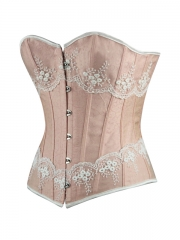 Elegant Mesh Pink Jacquard Women Corset Tops Wholesale