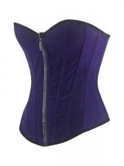 Front Zipper Velvet Purple Overbust Corset Bustier