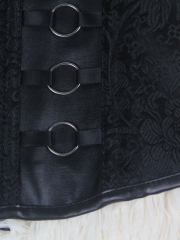 Steel Ring Decorated Black Leather Overbust Corset Tops