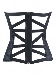 Back Hollow out Black Leather Over Bust Corset Bustier