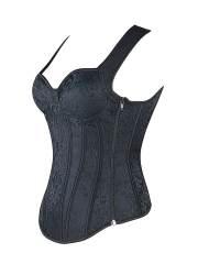 Women Strap Corset with Cups Black Overbust Corset Tops