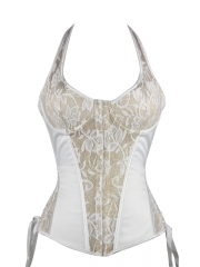 Flora Embroidery Decorated White Bridal Corset with Strap