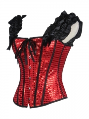 Black Wrinkle Shoulder Straps Corset Red Sequins Corset Tops