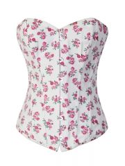 Lovely Small Flora White Overbust Corset Top Back Lacing