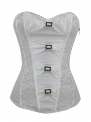 Noble Pure White Lace Bridal Zipper Women Corset Tops