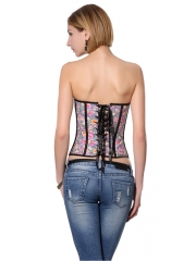 Colorful Flowers Women Denim Zipper Overbust Corset