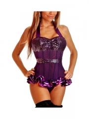 Shining Big Bow Black Mesh Overbust Corset With Garter