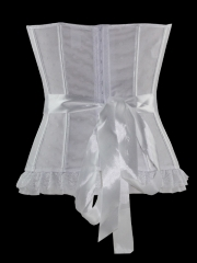Mesh Bows White Cup Overbust Bridal Corset Bustier