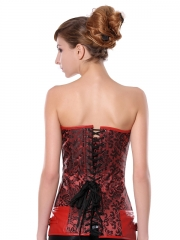Strong Red Long Flora Steel Boned Women Overbust Corset