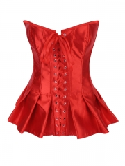 Wholesale Red Elegant Satin Overbust Ladies Corset Tops