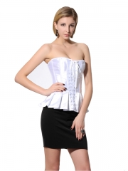 Fashion White Elegant Satin Overbust Ladies Corset Tops
